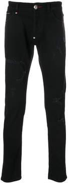 Philipp Plein frayed patch jeans