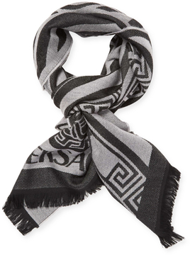 Versace Men's Sciarpa Wool Long Fringe Scarf