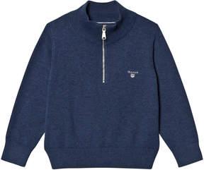 Gant Grey Melange Half Zip Knit Jumper