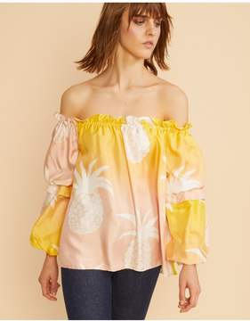 Cynthia Rowley | Jetset Pineapple Top | M | Denim