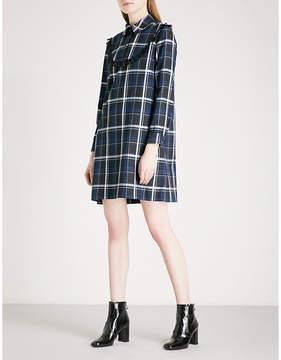 Claudie Pierlot Lace-trim checked flannel mini dress