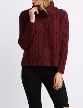 Charlotte Russe Cable Knit Turtle Neck Sweater