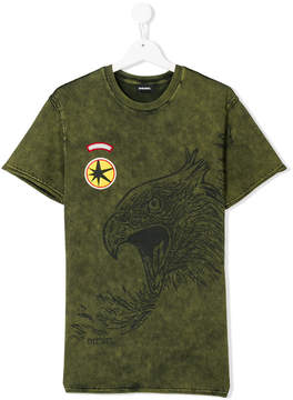 Diesel Teen stone washed eagle T-shirt