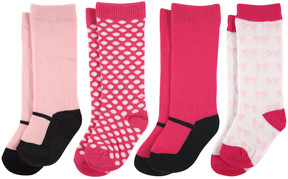 Luvable Friends Pink & Black Mary Jane Four-Pair Knee-High Socks Set - Infant