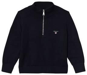 Gant Navy Half Zip Knit Jumper