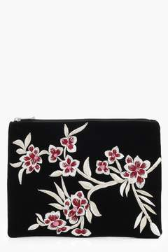 boohoo Oriental Embroidered Velvet Clutch Bag