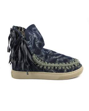 Mou Eskimo Sneaker In Natural Indigo Denim With Fringe.