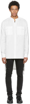 Balmain White Long Military Shirt