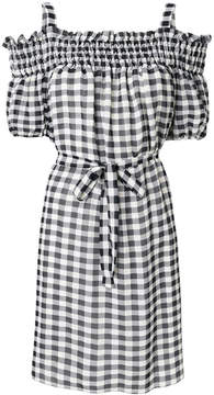Moschino gingham cold shoulder mini dress