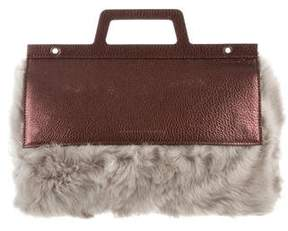 Brunello Cucinelli Metallic Shearling-Trimmed Bag