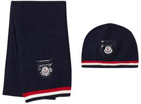 Moncler Navy Stripe Beanie And Scarf Duo