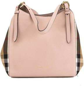 Burberry Pale Orchid Leather and House Check Small Canter Bag - ONE COLOR - STYLE