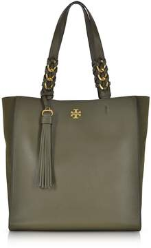 Tory Burch Brooke Leccio Leather Tote Bag W/suede Trims - OLIVE GREEN - STYLE