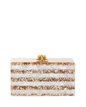 Edie Parker Jean Confetti-Striped Box Clutch Bag, Nude/Sand