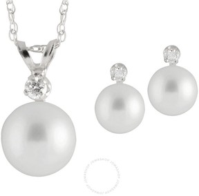 Bella Pearl 14K White Gold Sliding Chinese Akoya Pearl Diamond Pendant and Earring Set
