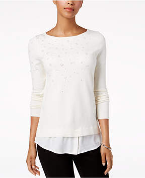 Charter Club Layered-Look Embellished Sweater, Created for Macy's