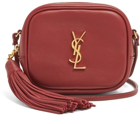 Saint Laurent Monogram Blogger leather cross-body bag - BURGUNDY - STYLE
