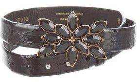 Oscar de la Renta Alligator Embellished Belt