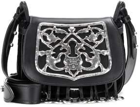 Prada Cotton and leather embellished shoulder bag