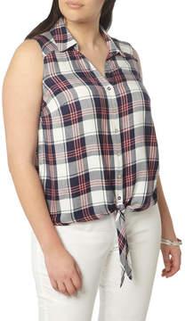 Evans Plaid Twill Tie Front Shirt (Plus Size)