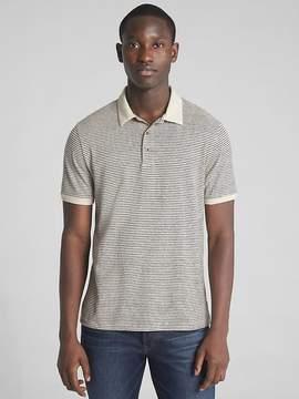Gap Short Sleeve Polo Shirt in Linen-Cotton
