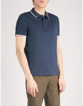 BOSS GREEN Contrast-trim cotton-blend polo shirt
