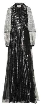 Jet sequined silk gown in black