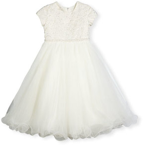 Joan Calabrese Cap-Sleeve Lace & Tulle Special Occasion Dress, Ivory, Size 4-14