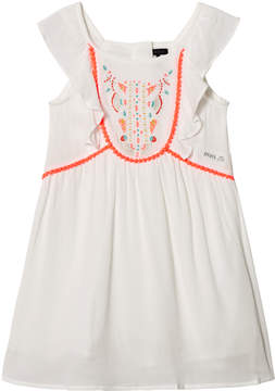 Ikks White Neon Embroidered and Pom Pom Dress