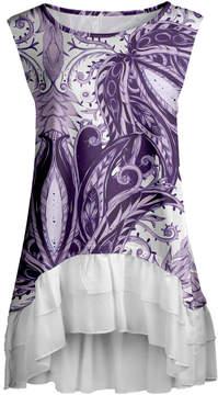 Lily Purple & White Abstract Ruffle-Hem Sleeveless Tunic - Women & Plus
