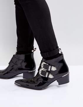 Jeffery West Sylvian Suede Buckle Boots In Black