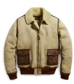 Ralph Lauren Leather-Trim Shearling Jacket Cream S