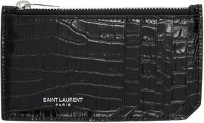 Saint Laurent Black Croc 5 Fragments Zip Card Holder - BLACK - STYLE