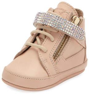 Giuseppe Zanotti Birel Crystal-Strap High-Top Sneaker, Pink, 0-9 Months
