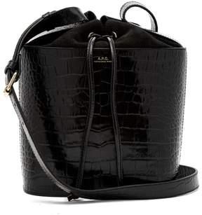 A.P.C. Clara Crocodile Effect Leather Bucket Bag - Womens - Black