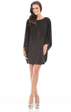 Johnathan Kayne 7078 Sequined A-line Dress with Long Sleeves