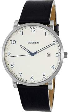 Skagen Men's Hagen SKW6335 Black Leather Quartz Dress Watch
