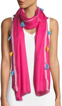 Neiman Marcus Multicolor Tassel Scarf
