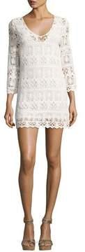 BA&SH Elza Lace 3/4-Sleeve Mini Dress, Ecru