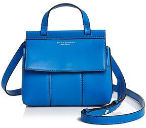 Tory Burch Block-T Mini Leather Satchel - GALLERIA BLUE/GOLD - STYLE