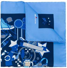 Kiton abstract print handkerchief