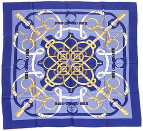 One Kings Lane Vintage HermAs Eperon d'Or Purple Silk Scarf - Vintage Lux