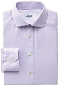 Charles Tyrwhitt Slim Fit Spread Collar Non-Iron Mouline Stripe Lilac Cotton Dress Shirt Single Cuff Size 15/35