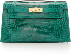 Hermes Vintage by Heritage Auctions Shiny Emerald Alligator Kelly Pochette