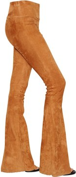 Drome Flared High Waist Stretch Suede Pants