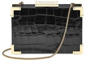Aspinal of London | Scarlett Box Clutch In Deep Shine Black Croc | Black deep shine croc