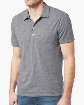 7 For All Mankind Short Sleeve Raw Placket Polo in Heather Grey