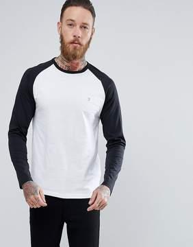 Farah Zemlack Slim Fit Raglan Long Sleeve Top in Black