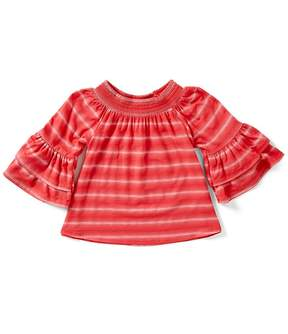Copper Key Big Girls 7-16 Ruffle-Sleeve Striped Top