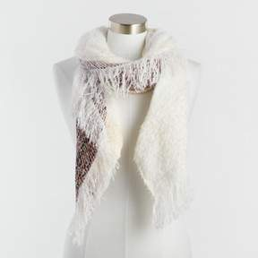 World Market Ivory Scarf with Red Stripe